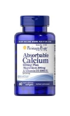 Puritans Pride Absorbable Calcium 600mg Plus Magnesium 300mg & Vitamin D 1000iu