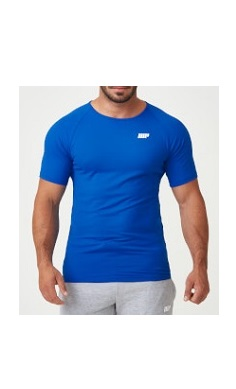 MyProtein Gym T-shirt blue MP logo Fuel Your Ambition slogan