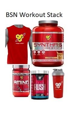 BSN Workout Stack - Pre-workout, protein, aminos