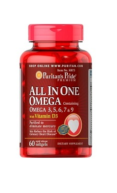Puritans Pride All In One Omega 3, 5, 6, 7 & 9 with Vitamin D3 60 softgels