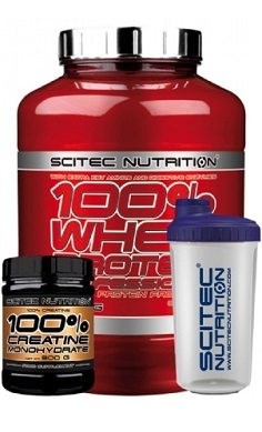scitec Nutrition 100 whey protein + free creatine + free shaker 1