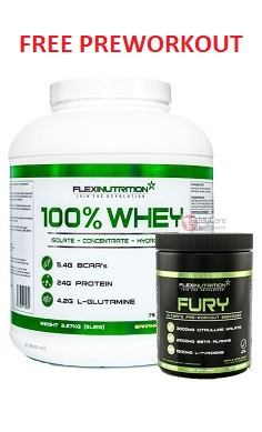 Flexi Nutrition 100% whey protein + Fury Pre-workout FREE