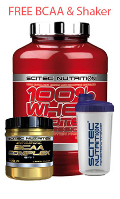 scitec Nutrition 100 whey protein + free bcaa + free shaker