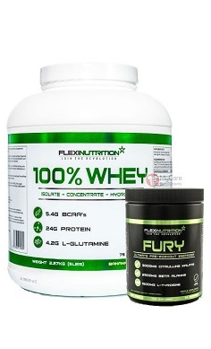 Flexi Nutrition 100% whey protein + Fury Pre-workout