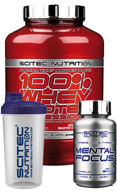 scitec Nutrition 100 whey protein + free mental focus + free shaker