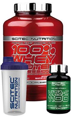 scitec Nutrition 100 whey protein + free vitamin C + free shaker