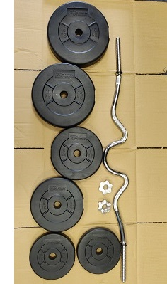 EZ Curl bar weights barbell bitumen plastic plates